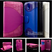 For Samsung Galaxy S4 I9500 Crocodile PU Leather Flip Stand Wallet Case With Credit Card Insert Slot 4 Colors
