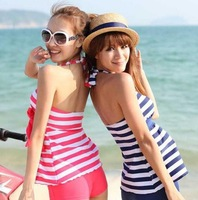 2013 summer HOT sexy Tankinis Women Swimwear stripe beach wear set  4 colors fashion style free shipping