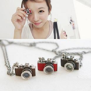Vintage Jewelry Camera Necklaces Pendants Hot Sale Enamel Five Color Lovely Fashion Designer Bijoux A0055