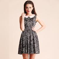 2013 spring print one-piece dress peter pan collar expansion bottom slim waist print vest one-piece dress