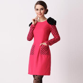 Luxury rabbit fur woolen dress 199