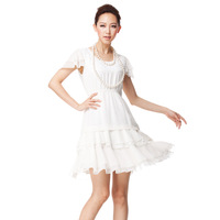 Fashion sweet women's 2013 faux silk white chiffon lace short-sleeve dress