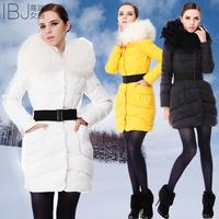 Large fur collar down coat 2012 women's berber fleece coat medium-long down thickening