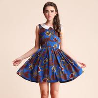 2013 spring women's sweet rustic small fresh peter pan collar print expansion bottom sleeveless one-piece dress