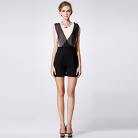 Ibj 2013 summer personalized faux two piece set silk jumpsuit color block vest loose shorts