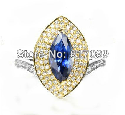 sold jewelry 14k yellow and white gold natural sapphire 0.56ct diamond engagement ring $7(China (Mainland))