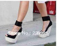 Genuine leather platform wedge sandals black ankle wrap high heel pumps design women dress shoe
