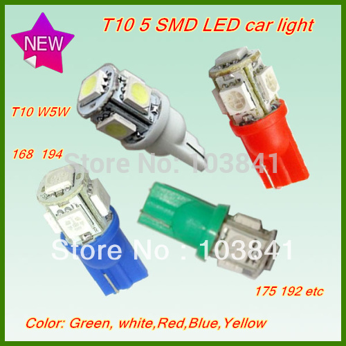 Free shipping retail 10pcs car led lamp T10 194 W5W 168 SMD 5050 LED Wedge Light Bulb White Green Red Yellow Blue 12V T10 5 LED(China (Mainland))