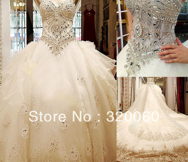 2013 Empire Noble Sweetheart Appliques Beads SWAROVSKI Luxury Crystals Cathedral Train Natural Bridal Gown Wedding Dresses(China (Mainland))