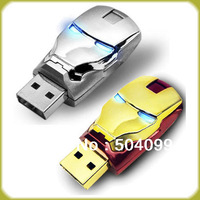 Free Shipping Wholesale Sale Flawless Avengers Iron Man LED Flash 4GB 8GB 16GB 32GB  USB Flash 2.0 Memory Drive Stick
