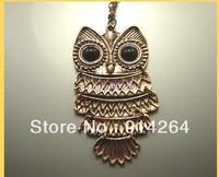 Wholesale 12Sets Fashion Big Owl Bronze Necklaces    free shipping