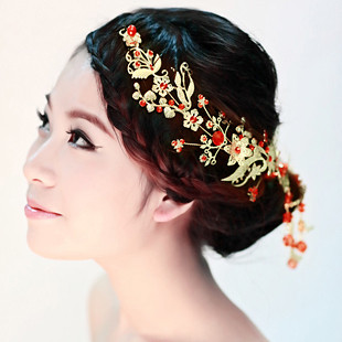 free shipping Exquisite gold bride hairpin marriage accessories cheongsam accessories red bead hair accessory 23