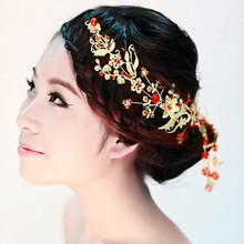 Exquisite gold bride hair accessory hair accessory marriage accessories cheongsam accessories red bead hair accessory 23