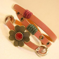 High quality handmade retro flower leather bracelet with alloy accessories Multi-layer Knitting 2013 hot selling Vintage jewelry