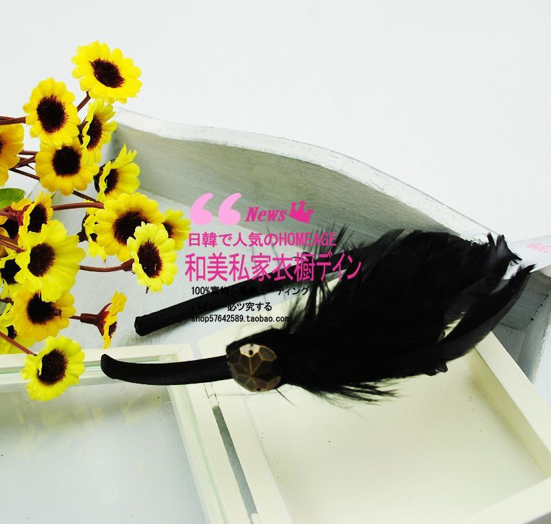 Free Shipping New arrival fashion real fur feather rivet hair band hair pin headband head(China (Mainland))