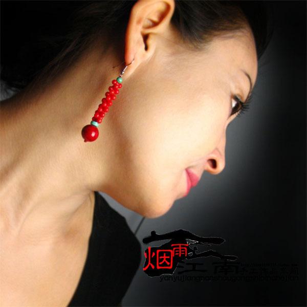 Free shipping Earrings needle pendant festive red earrings ear hook anti allergic marriage accessories