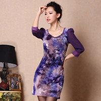 2013 spring women's noble elegant beading slim hip ol slim three quarter sleeve velvet one-piece dress