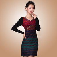 Fashion wool dress slim hip slim plus size clothing winter dress woolen beading patchwork stripe one-piece dress