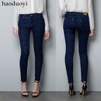 Winter 2013 autumn fashion blue leopard print legging fitting skinny women's pencil pants ,free shipping,#0034