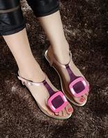 2013rv t strap rv side buckle flip-flop flat sandals colorant match women's shoes