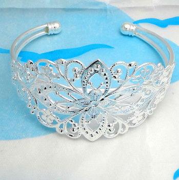 FREE SHIPPING 1PCS Silver Plate Filigree Floral Bracelet Bangles #22726