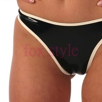 3 pcs / lot black latex briefs with white trim