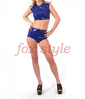 fancy sexy rubber latex costumelatex underwear latex top with shorts