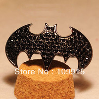 Free Shipping Retro Vintage Gothic Pave Rhinestone Black Bat Batman Punk Rock Two Finger Ring LKJ17B