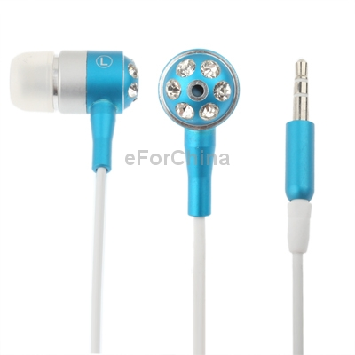 Diamond Style 3.5mm Plug in-Ear Earphone for iPod / iPhone / MP3 / MP4, Cable Length: 1.3m (Baby Blue)(China (Mainland))