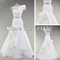 Free Shipping!2014 Newest Design Fancy Mermaid Handmade Flowers Sweetheart One Shoulder Bridal Gown