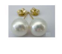 AAA+ 9-10mm Japanese Akoya saltwater pearl earrings 14k solid gold