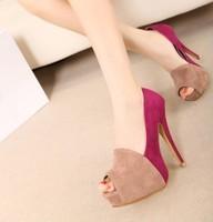 2013 spring and autumn elegant velvet color block decoration platform high-heeled shoes open toe shoe thin heels pumps