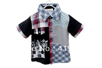 Free Shipping Boys Fashion Abstract  Plaid Letter Number 100%cotton Shirt Lapel Short Top Red,Black Blue 4pcs/lot 90-120-1131