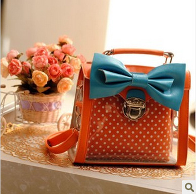 2013 summer new hit color bow crystal version of the summer transparent bag square jelly mini- packet(China (Mainland))