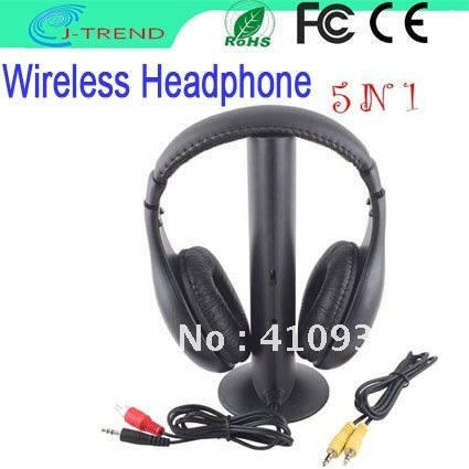Free Shipping 5 in 1 HIFI Wireless headphone Earphone Headset wireless Monitor FM radio for MP4 PC TV audio(China (Mainland))
