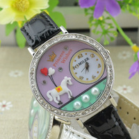 New Korean Women Girls Cartoon Hobbyhorse Polymer Clay Design Watch Wristwatch # L05411