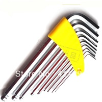 """Free Shipping 9 Piece 'L' Style Ball Head Inner Hex Key Wrench Spanner Lenghthening Metric 1.5-10MM Imperial 1/16""""-3/8"""""""