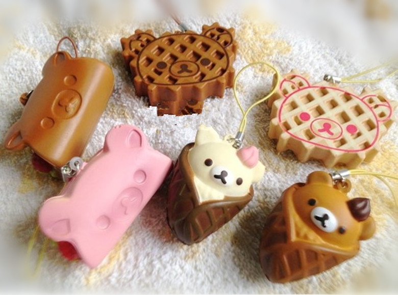 6pcs/lot Easily bear/Biscuit bear cake Squishy Cell Phone Charm/bag charm /squishy buns(China (Mainland))