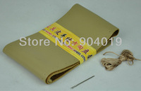DIY Beige Genuine Leather Steering Wheel Wrap Cover Size L 40cm