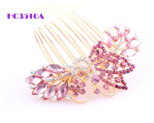 6pcs/lot+Free shipping ! Trendy alloy butterfly bridal hairpin accessories, czech crystal hairclips ,woman hair combs jewels(China (Mainland))