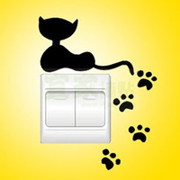 Free Shipping Cat Paw Print Switch Sticker Home Mural Art Vinyl Home Living Room Bedroom Wall Decoration Decal W106