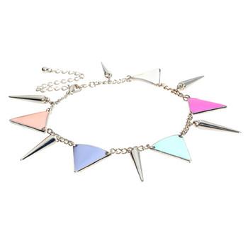 2013 hot punk rivet personalized multicolour triangle tassel anklet