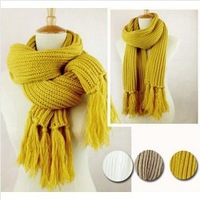 fashion long tassel warm scarf winter knitted muffler scarf 5 colors white yellow khaki 200*30cm free shipping