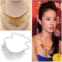 Xl013 necklace mix match gold tassel short necklace fanghaped necklace female necklace