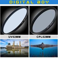52mm Ultra-Viole UV filter+Circular polarizing CPL C-PL 52 mm  lens filter for Canon Nikon Sony Camera lens