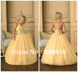 Wholesale Halter Sleveless Zipper Back Applique Taffeta Kids Gown Designs Kids Dresses For Weddings FF118(China (Mainland))