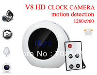 Freeshipping Digital Motion Detection Alarm Clock Hidden Camera V8 with Remote Control  Motion Detection 1280*960/Clock DVR