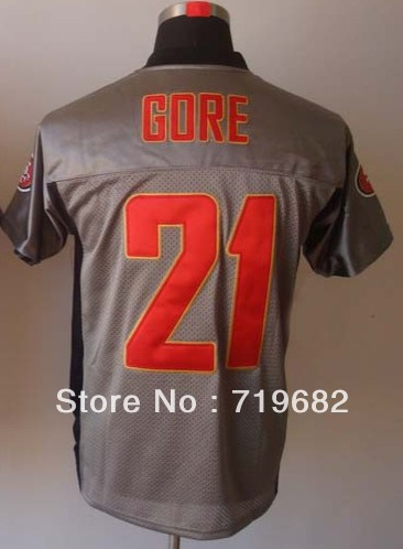 Free Shipping Frank Gore #21 Men's Grey Shadow Elite Football Jersey,Embroidery Logos,Size M--3XL,Accept Mix Order(China (Mainland))