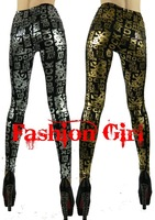 Free Shipping Punk Legging with Rock Letters Bronzing Slim Leggings Gold/Silver Color FG0109