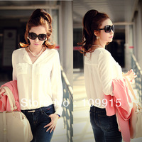 Womens OL Career Solid Long Sleeve Casual Chiffon Blouse Tops Button Down Shirts HR613 Free Shipping